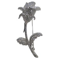 Nolan Miller Rose in Silver Tone With Clear Crystals