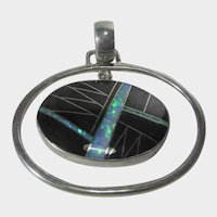 Sterling SIlver Pendant With Onyx and Lab Created Opal