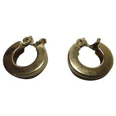 Vintage Monet Gold Tone Hoop Clip On Earrings