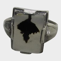 Sterling Silver Moss Agate Deco Style Ring by Uncas