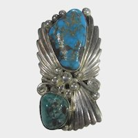 Native American Navajo Artist Sterling Silver Ring with Turquoise Signed Yazzie