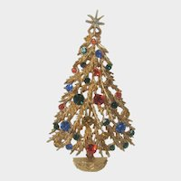 Vintage Art Christmas Tree Star Topped With Red and Green Ornaments