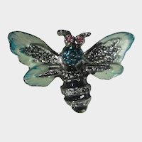 Petite Enamelled Bee Pin With Marcasite Accents