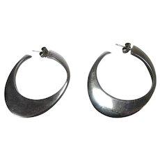 Sterling Silver Bold Modernist Hoop Earrings With 14 Karat Stems