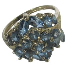 10 Karat Yellow Gold Blue Topaz Cluster Ring