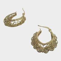 14 Karat Yellow Gold Filagree Hoop Earrings for Pierced Ears