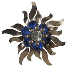 Vintage 1930's Flower Pin in Gold Tones with Five Moveable Sections