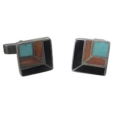 Native American Sterling Silver Mosaic Cuff Links With Turquoise, Coral and Onyx