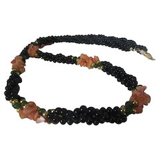 Vintage Black Bead Necklace With Six Coral Stations