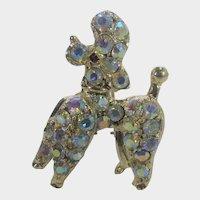 Vintage Poodle Pin In Aurora Borealis Pink Crystals