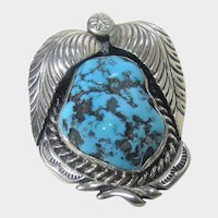 Native American Navajo Artist Begay Sterling Silver Turquoise Pendant