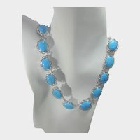 Camrose and Kross Replica Necklace Worn By Jacqueline Bouvier Kennedy Faux Turquoise Stations