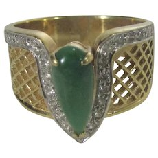 18 Karat Yellow Gold Jadeite and Diamond Ring