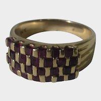 14 Karat Yellow Gold Ruby Checkerboard Ring