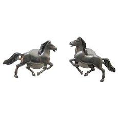 Native American Sterling Silver Running Horses Earrings For Pierced Ears