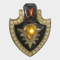Gold Tone Signed Pin With Faux Amethyst and Citrine Crystals Surrounded by Faux Pearls