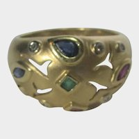 14 Karat Yellow Gold Brushed Dome Ring With Scattered Gemstones With Diamond Accents