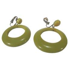 Bakelite Clip Earrings WIth Large Hoops in Green Hue