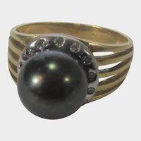 14 Karat Yellow Gold Tahitian Pearl Ring With Diamond Surround