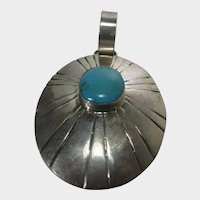 Native American Artist Maria Platero Sterling Silver  Statement Pendant with Turquoise