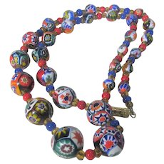Millefiori Beads with Glass Bead Spacer Necklace
