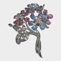 Nolan Miller Bouquet Pin With Pastel and Clear Crystals