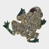 Petite Bejeweled and Enameled Gold Tone Frog Pin