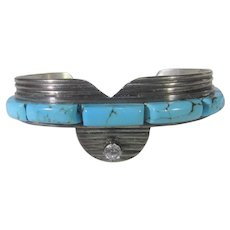Native American Sterling Silver Artist Signed Turquoise Cuff Enhanced with CZ