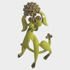 Mid Century Modern Enamelled Poodle Pin With Gold Tone Head, Tail and Toes