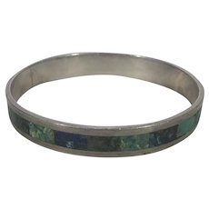 Sterling Silver Taxco Bangle With Inlaid Turquoise