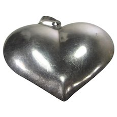 Sterling Silver Heart Pendant With Poured Red Enamel Center on a Sterling Chain