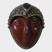 Sterling Silver Sajen Ring With Carved Stone Face and Amethyst Accent