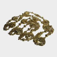 Designer Signed Gold Tone Logo Necklace