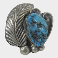 Native American Sterling Silver Turquoise Ring Feather and Scroll Work