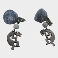 Vintage Costume Clip On Earrings With Silver Tone Kokopelli and Faux Lapis Lazuli