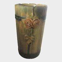 Weller Woodrose Vase 1915-1920 In Muted Wood and Orange Tones