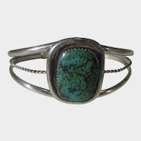 Rare, Vintage Signed Julian Lovato IHM Pueblo Native American Sterling Silver Turquoise Cuff