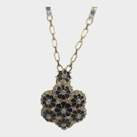 Camrose and Kross Replica Necklace Worn By Jacqueline Bouvier Kennedy Pin or Pendant With Faux Sapphire Crystals