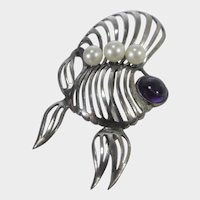 Caribe Sterling Silver Pin With Cultured Pearls and Purple Cabochon