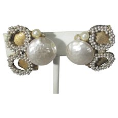 Vintage Old Mark Miriam Haskell Clip On Earrings With Faux Pearls