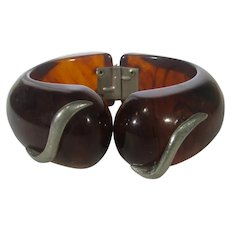 Bakelite Mid Century Clamper in Brown to Amber With Silver Tone Accents