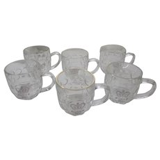 Queen Elizabeth 1953 Coronation 6 Matching Glass Mugs
