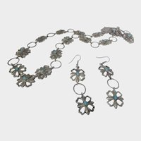 Native American Sterling Silver Concho Necklace and Matching Concho Pierced Earrings Turquoise Accents