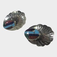 Native American Sterling Silver Navajo Artist Signed Stud Earrings With Mosaic Center
