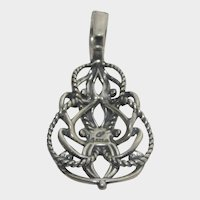 Sterling Silver Artists Signed Pendant With Hinged Bale For Ease