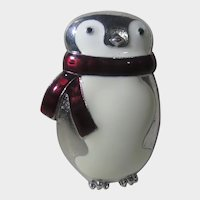 Penguin Pin or Pendant is Silver Tone With Enamelled Body and Scarf