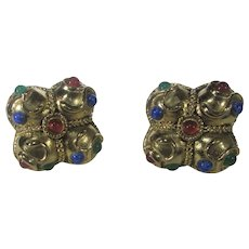 Statement Moghul Style Clip on Earrings In Gold Tone With a Variety of Glass Cabochons