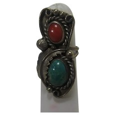 Native American Sterling Silver Turquoise and Red Coral Ring