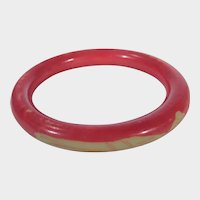 Vintage Lucite Bangle In Coral and Cream Corn