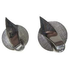 Vintage Marvella Silver Tone Clip On Earrings With Brushed and Polished Texture